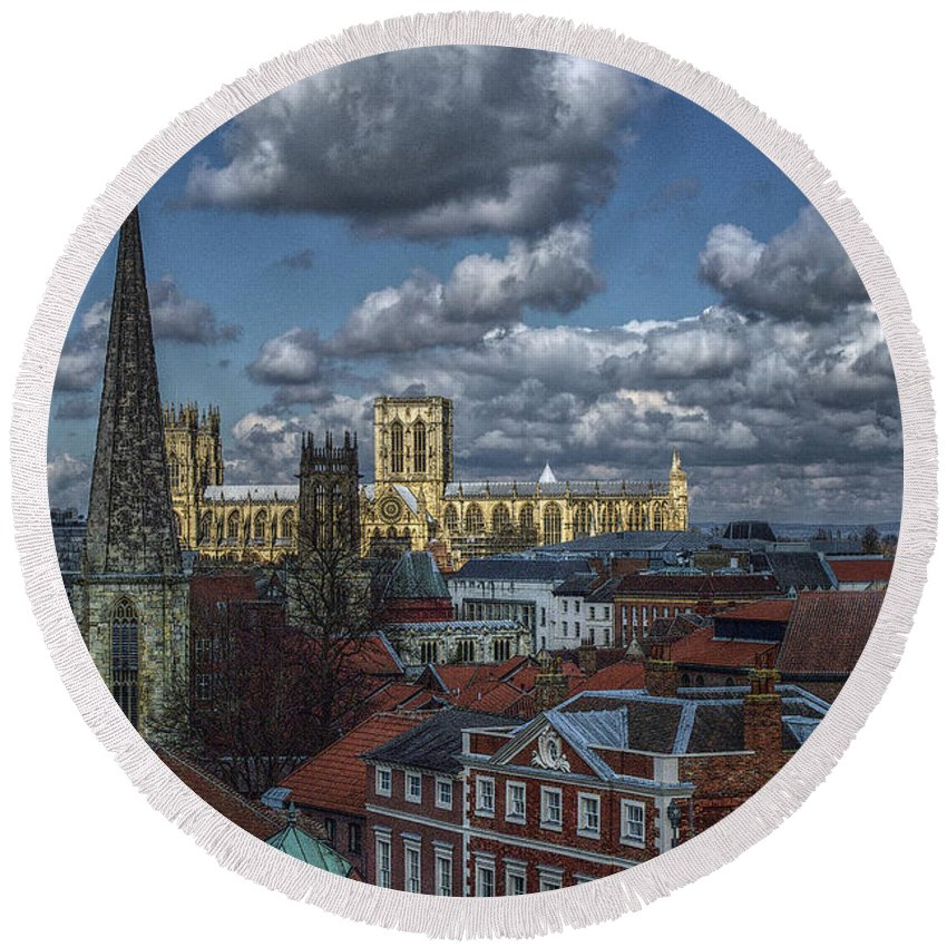 Architecture Round Beach Towel featuring the photograph The Clifford Tower View by Mark Hunter
