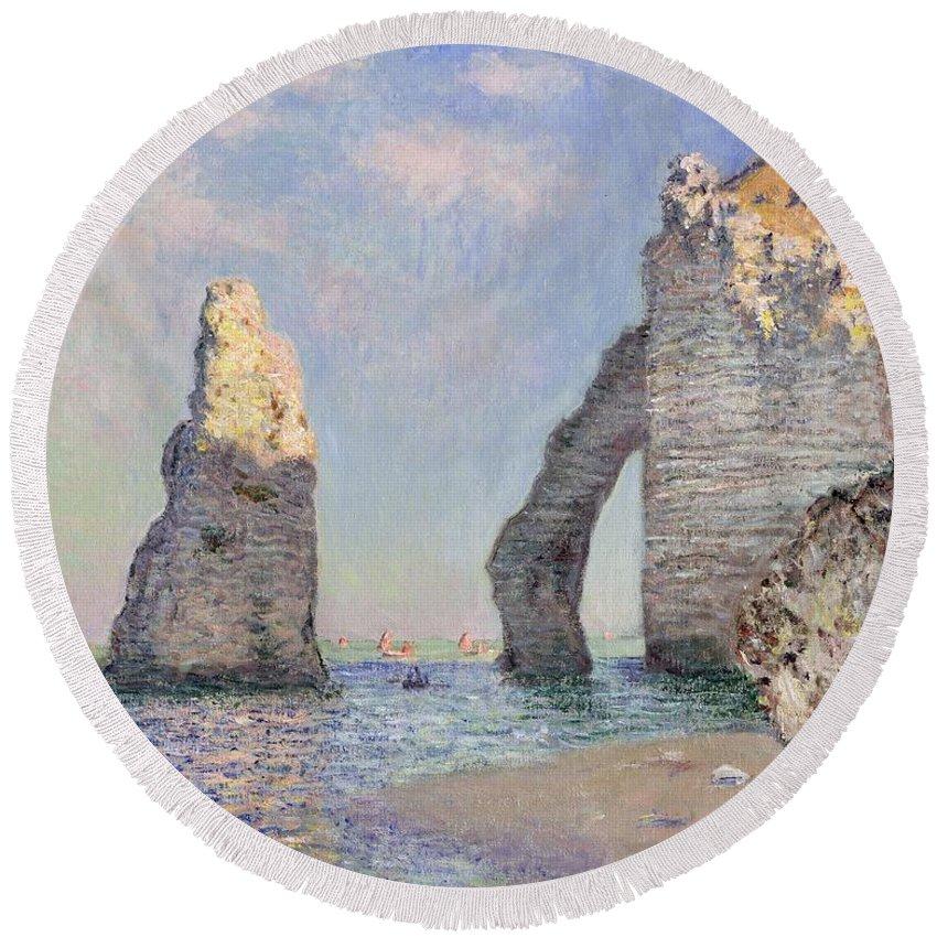The Cliffs At Etretat Round Beach Towel featuring the painting The Cliffs at Etretat by Claude Monet