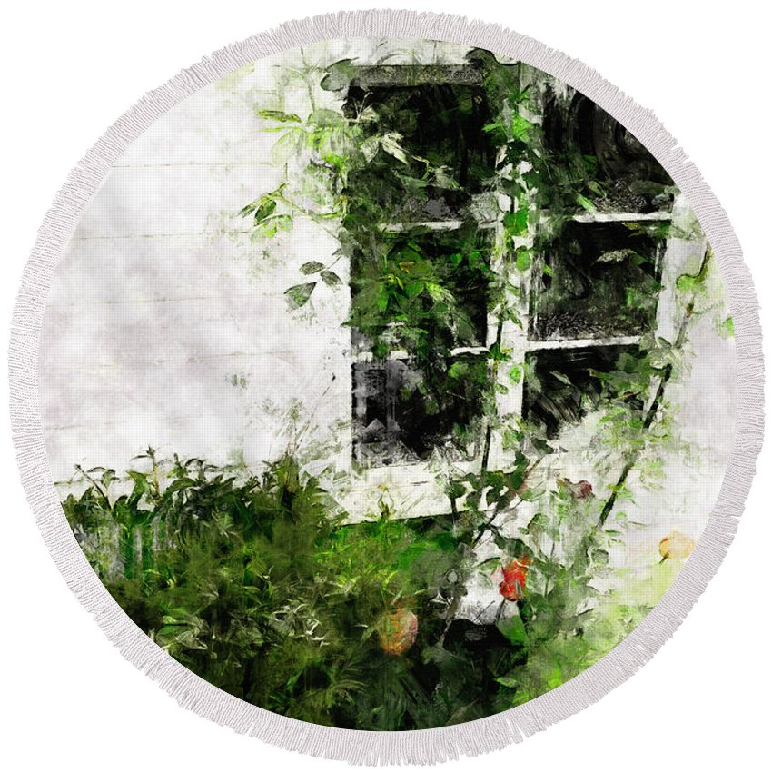 Window Round Beach Towel featuring the photograph The Climb by Claire Bull