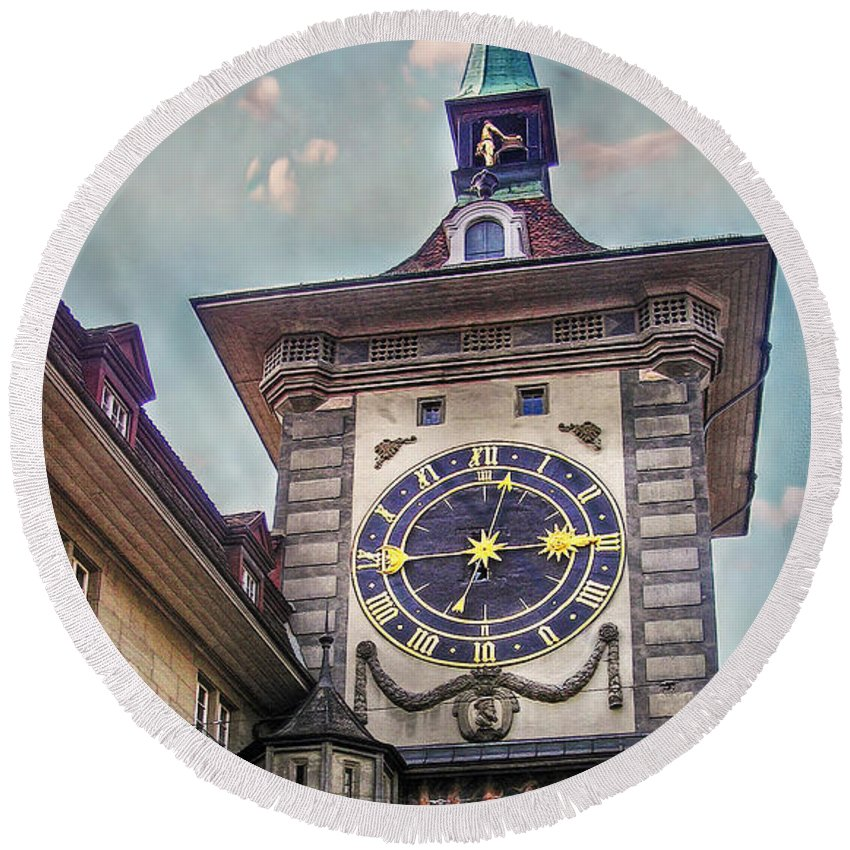 Switzerland Round Beach Towel featuring the photograph The Clock Of Clocks by Hanny Heim