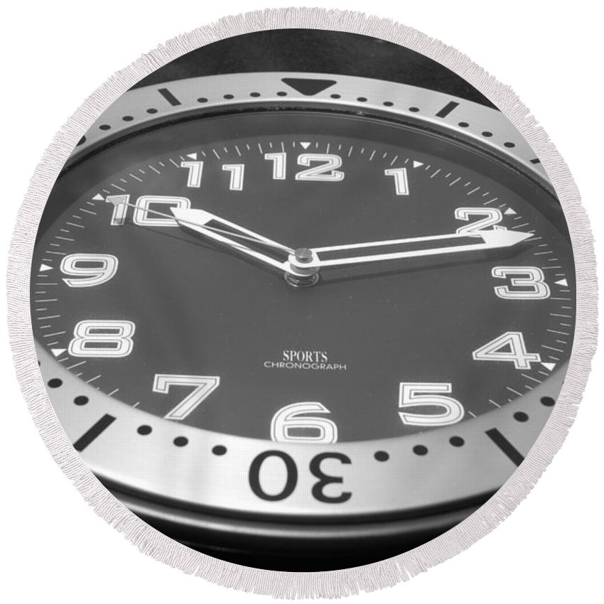 Black And White Round Beach Towel featuring the photograph The Clock by Rob Hans