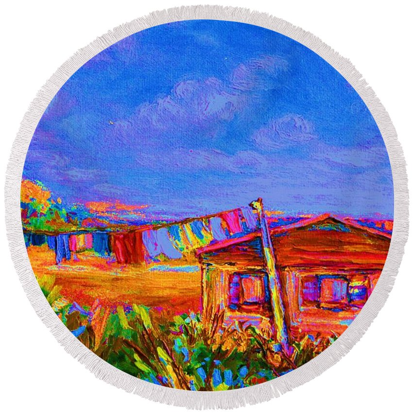 Clothesline Scenes Round Beach Towel featuring the painting The Clothesline by Carole Spandau