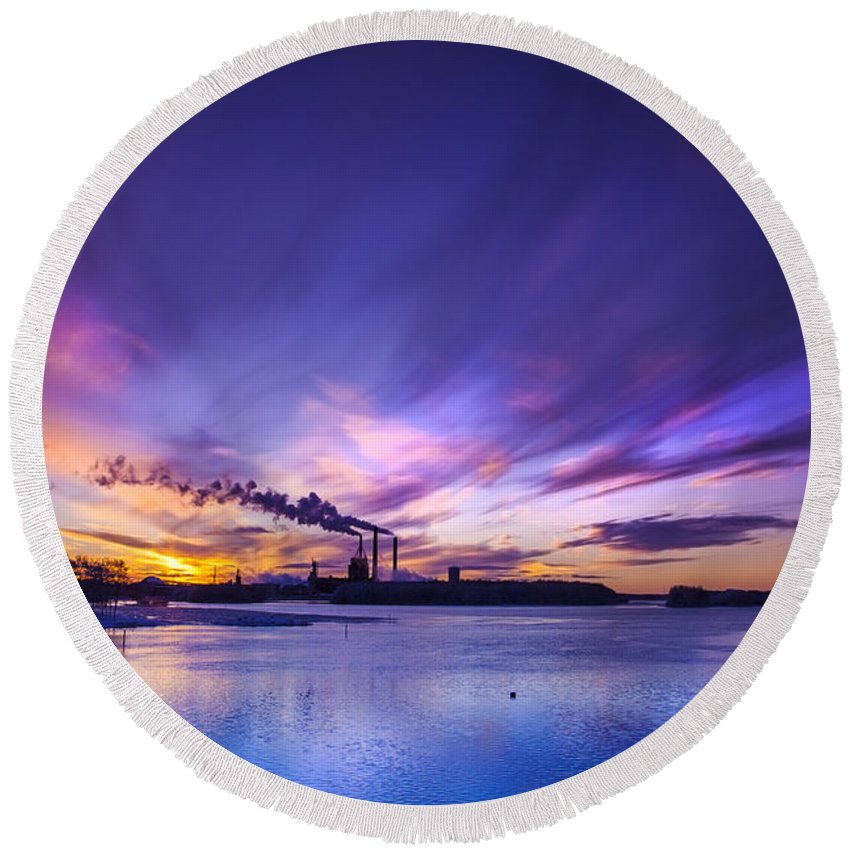 Beautiful Round Beach Towel featuring the photograph The Cloud Factory 2 by Sandra Rugina