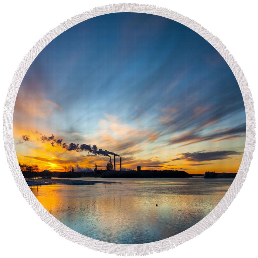 Beautiful Round Beach Towel featuring the photograph The Cloud Factory by Sandra Rugina
