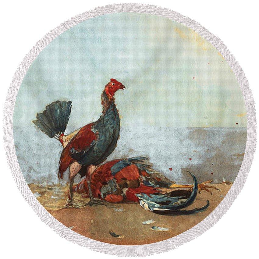 19th Century American Painters Round Beach Towel featuring the painting The Cock Fight by Winslow Homer