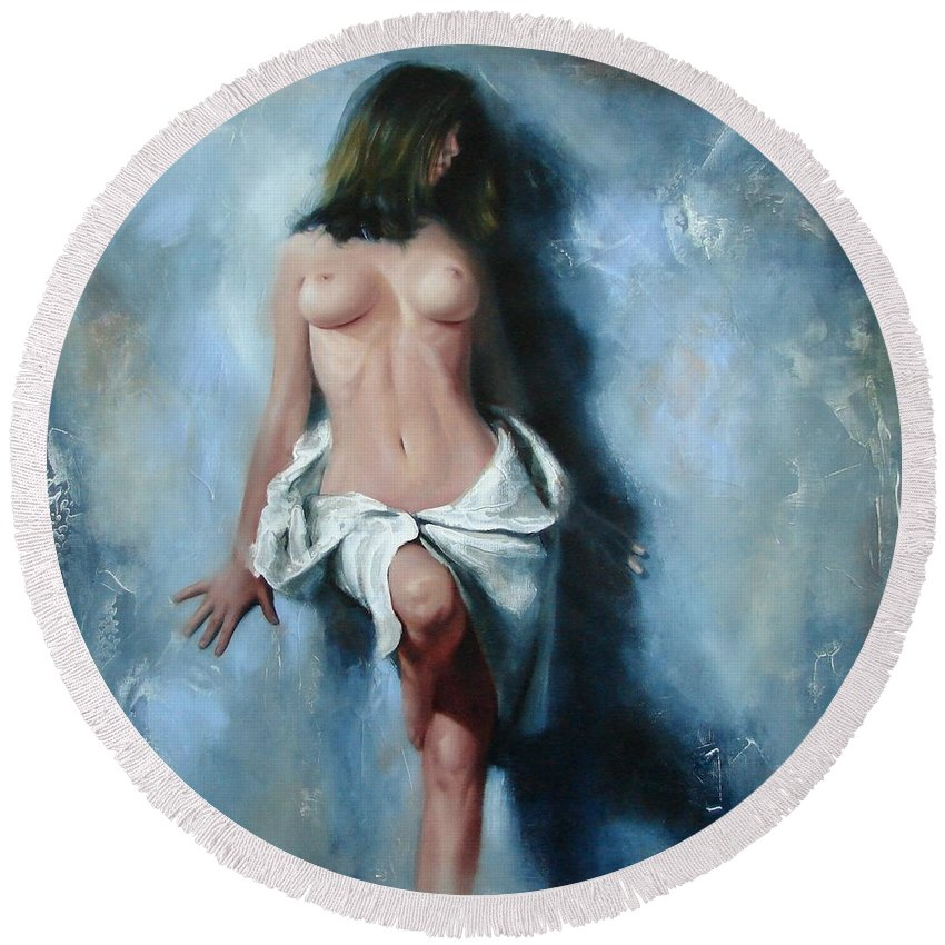 Oil Round Beach Towel featuring the painting The cold senses by Sergey Ignatenko
