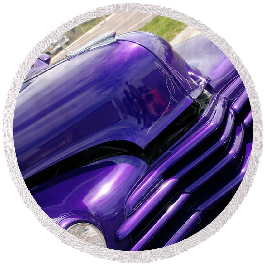 Cars Round Beach Towel featuring the photograph The Color Purple by Susanne Van Hulst