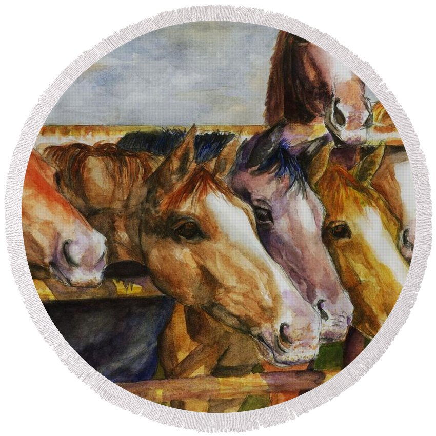 Horses Round Beach Towel featuring the painting The Colorado Horse Rescue by Frances Marino