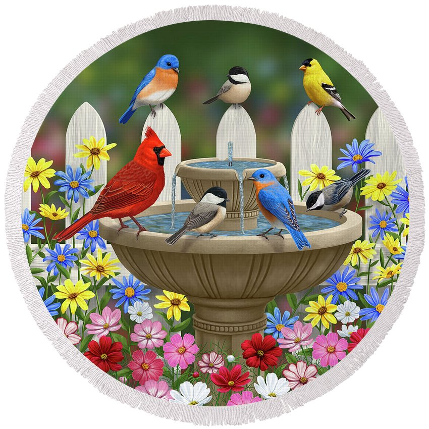 Birds Round Beach Towel featuring the painting The Colors Of Spring - Bird Fountain In Flower Garden by Crista Forest