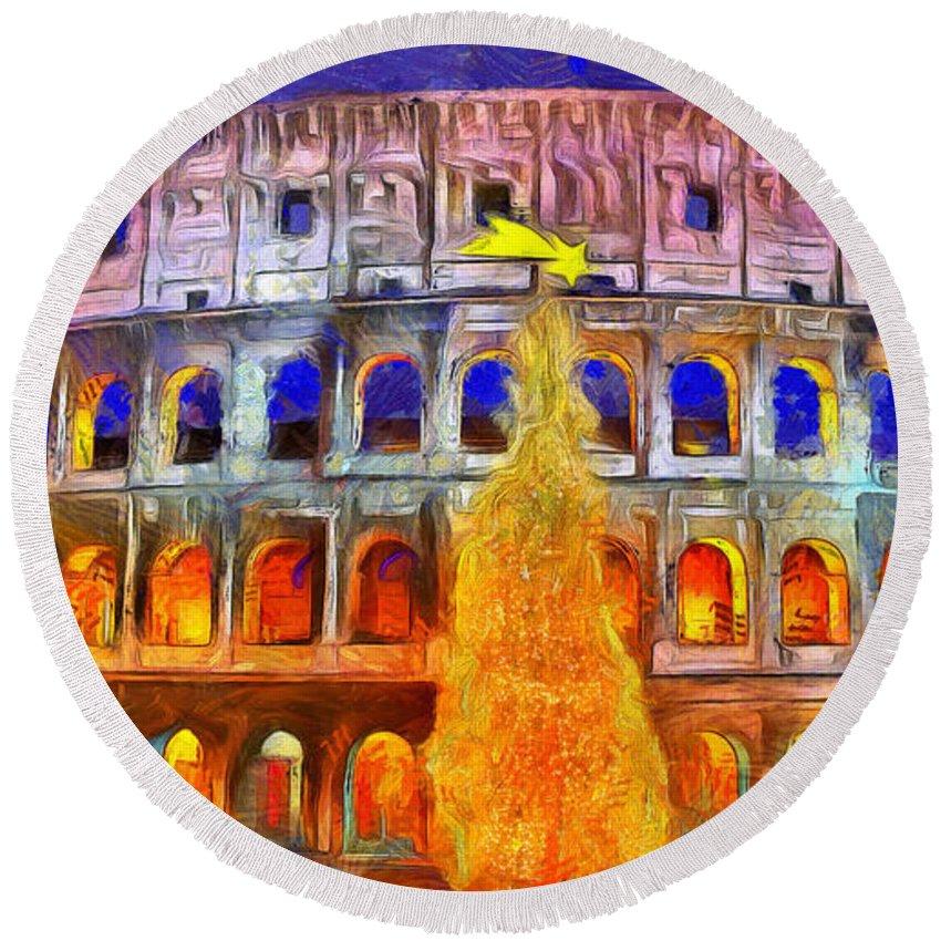 Coliseum Round Beach Towel featuring the digital art The Colosseum And Christmas - Van Gogh Style - - Da by Leonardo Digenio