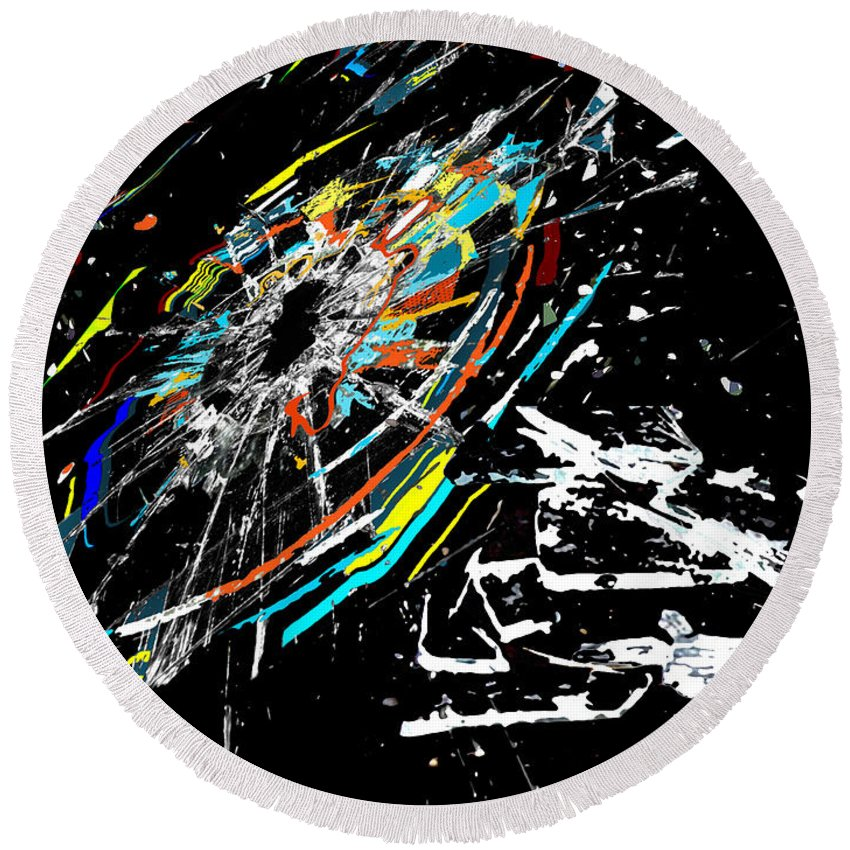Abstract Round Beach Towel featuring the digital art The Comet by Ricardo Mester
