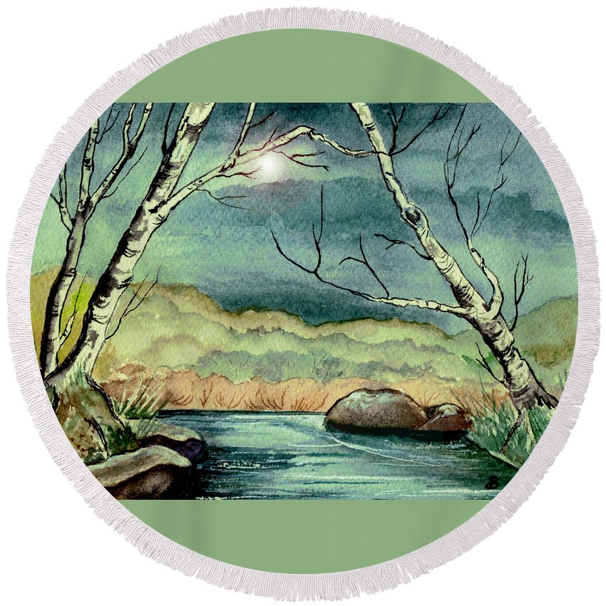 Watercolor Round Beach Towel featuring the painting The Coming Storm by Brenda Owen