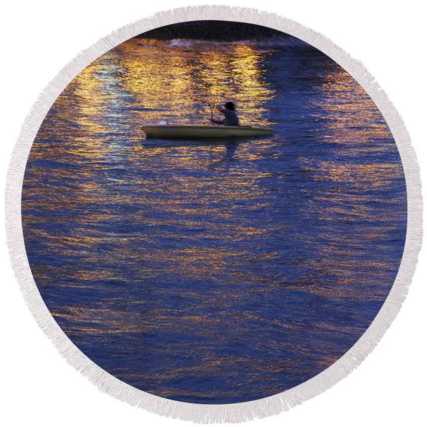 Canoeing At Night Round Beach Towel featuring the photograph The Composer by Casper Cammeraat