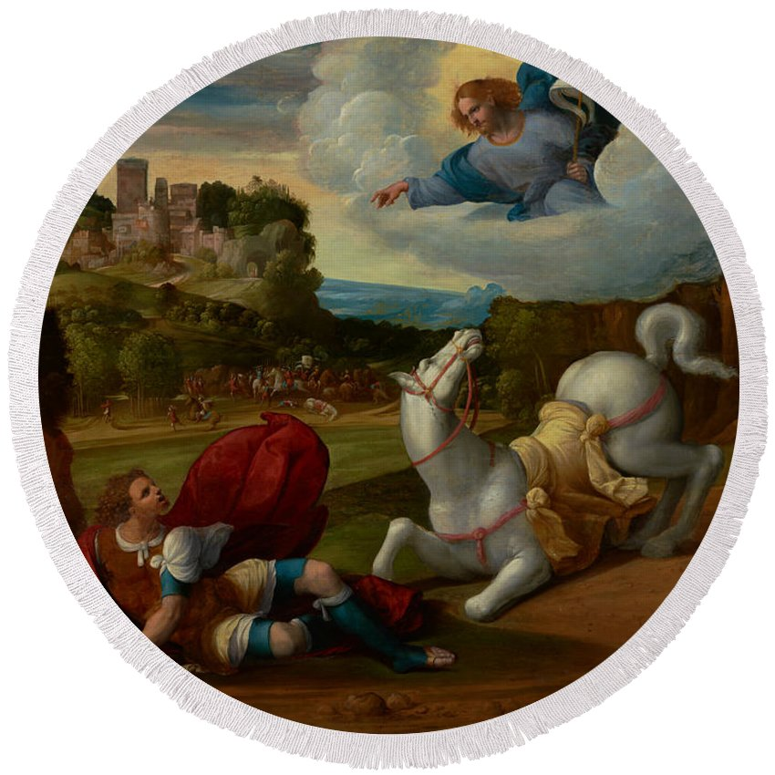 Painting Round Beach Towel featuring the painting The Conversion Of Saint Paul by Mountain Dreams