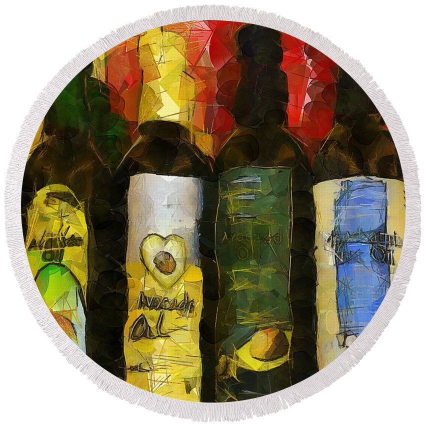 Bottles Round Beach Towel featuring the painting The Cook's Elixirs by RC DeWinter