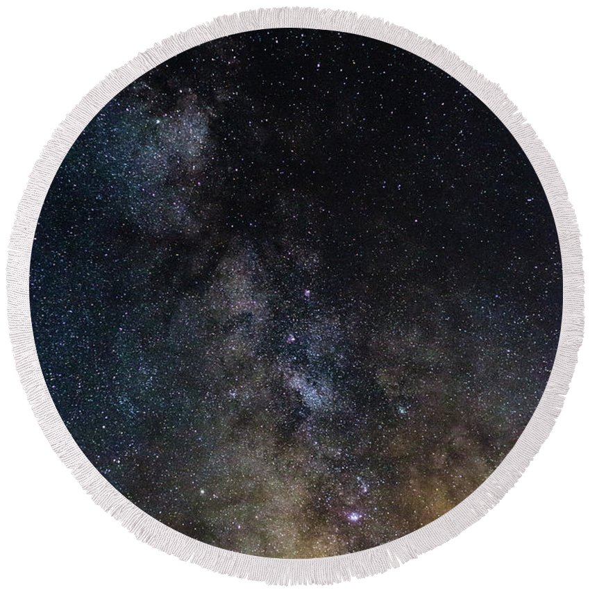 Photography Round Beach Towel featuring the photograph The Core Of The Milky Way by Justin Starr