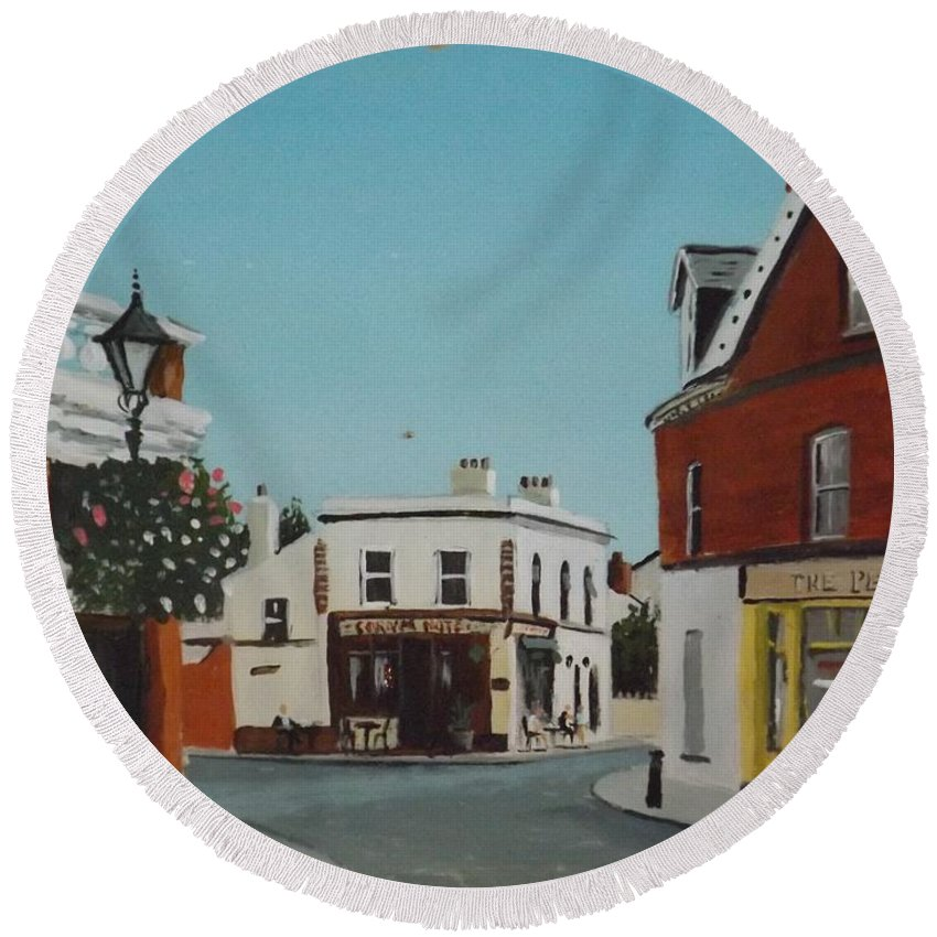 Dalkey Round Beach Towel featuring the painting The Corner Note, Dalkey by Tony Gunning