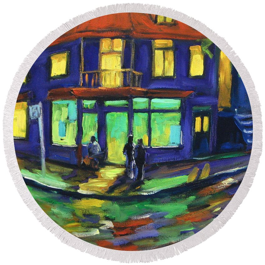 Town Round Beach Towel featuring the painting The Corner Store by Richard T Pranke