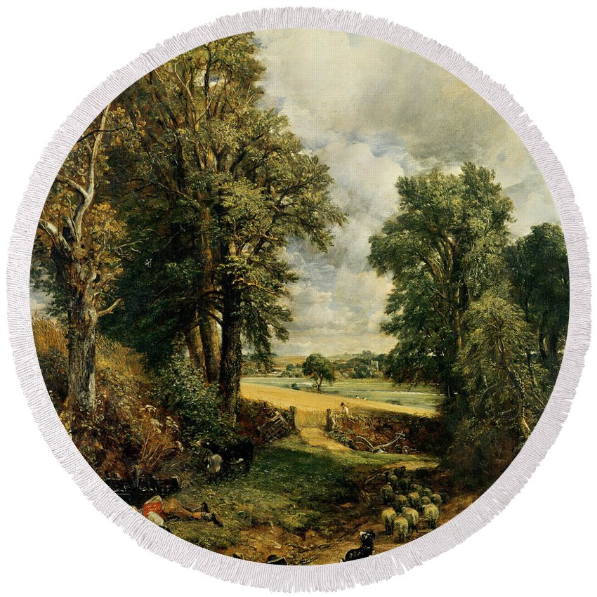 The Round Beach Towel featuring the painting The Cornfield by John Constable