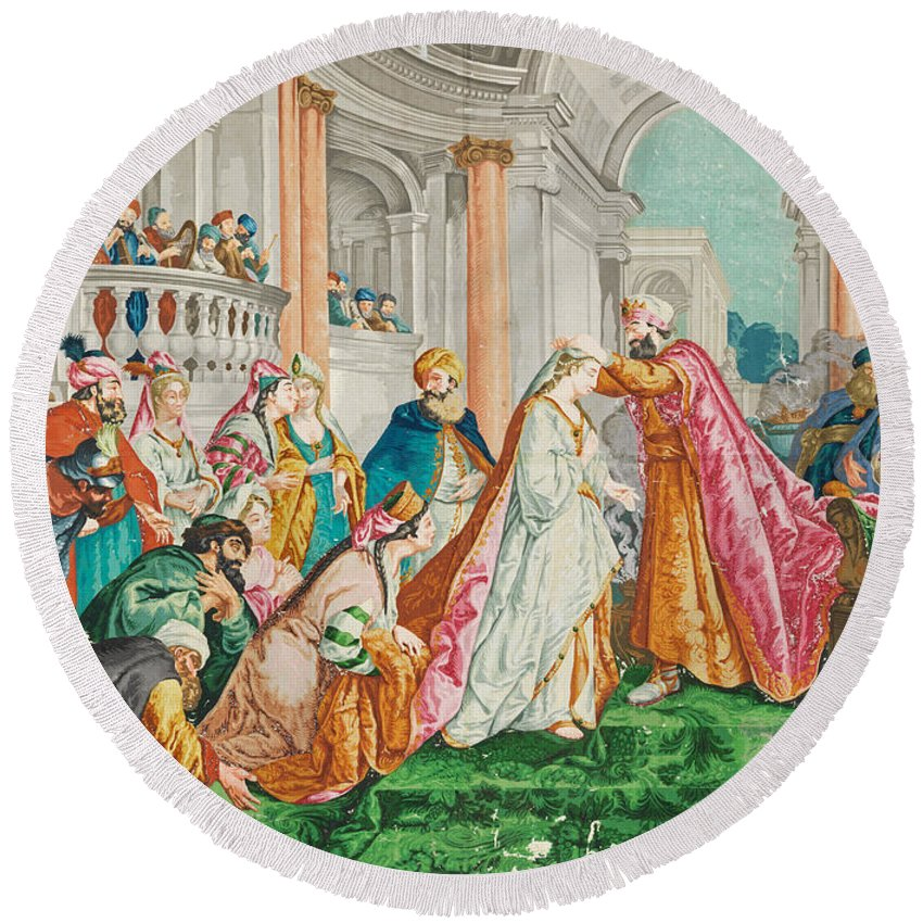 Jean-francois Detroy Round Beach Towel featuring the painting The Coronation Of Esther by Jean-Francois Detroy