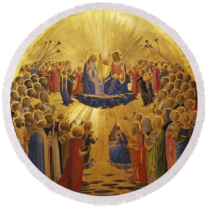 Fra Angelico Round Beach Towel featuring the painting The Coronation Of The Virgin by Fra Angelico