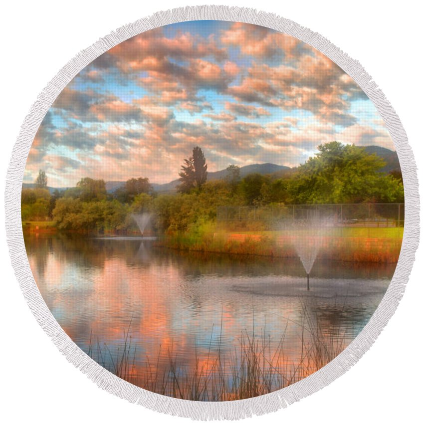 Clouds Round Beach Towel featuring the photograph The Cotton Candy Sky by Tara Turner