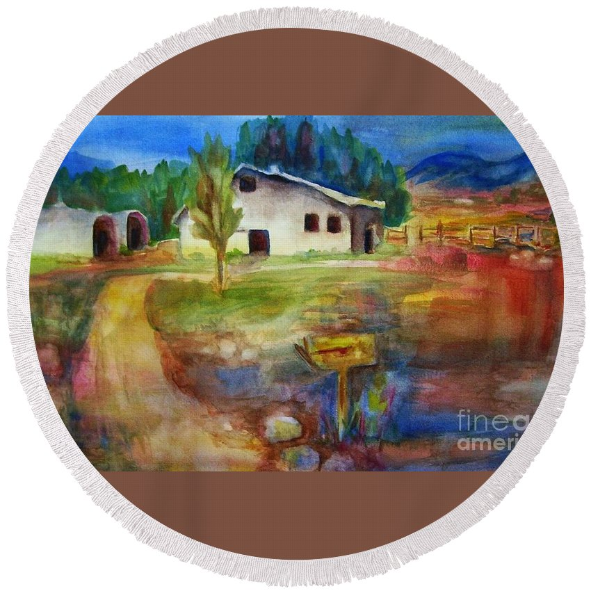 Country Barn Round Beach Towel featuring the painting The Country Barn by Frances Marino