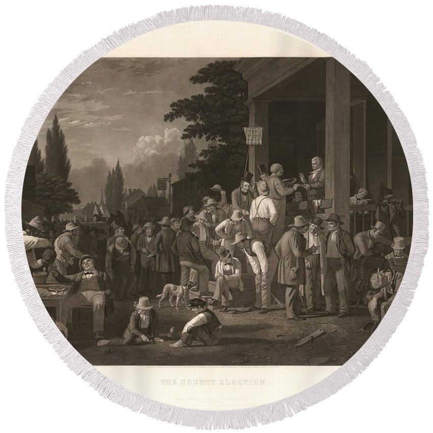 Bingham Round Beach Towel featuring the photograph The County Election by George Caleb Bingham