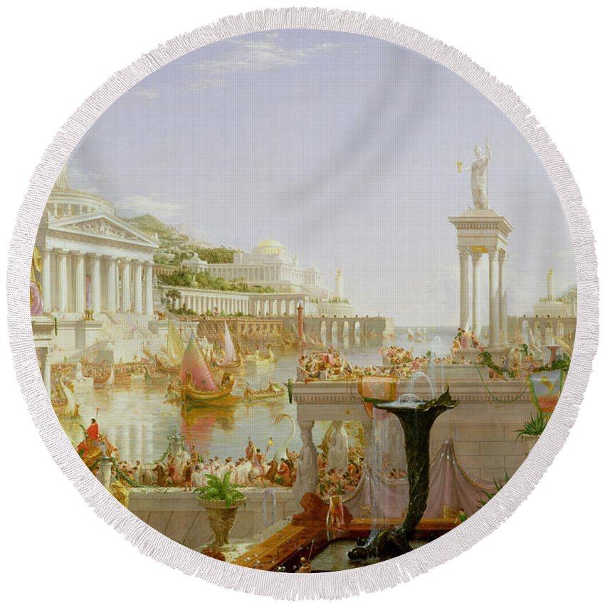Civilisation; Ideal; Classical; Monument; Architecture; Column; Fountain; Hudson River School; The Course Of Empire: The Consummation Of The Empire Round Beach Towel featuring the painting The Course Of Empire - The Consummation Of The Empire by Thomas Cole