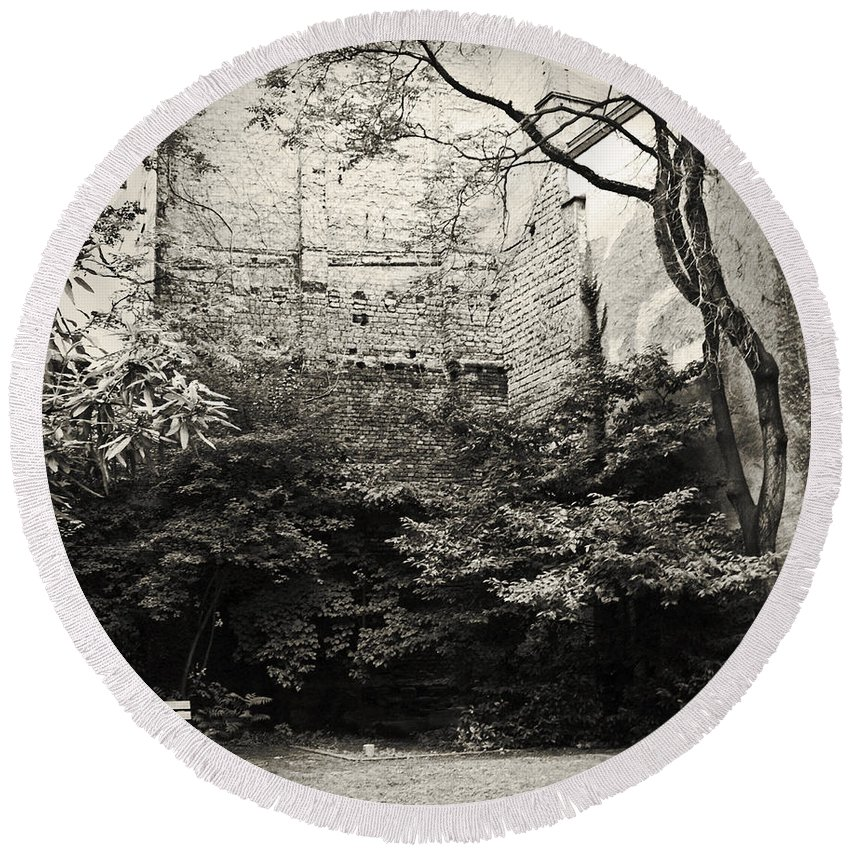 Tree Round Beach Towel featuring the photograph The Courtyard by Dorit Fuhg