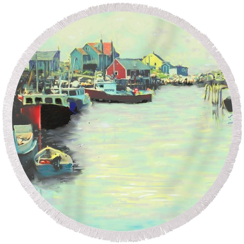 Peggys Cove Round Beach Towel featuring the digital art The Cove by Ian MacDonald