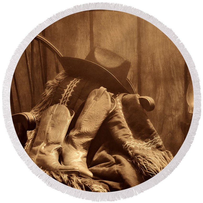 Antique Round Beach Towel featuring the photograph The Cowgirl Rest by American West Legend By Olivier Le Queinec