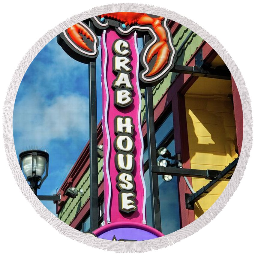 Monterey Round Beach Towel featuring the photograph The Crab House Seafood Grill by Lynn Bauer