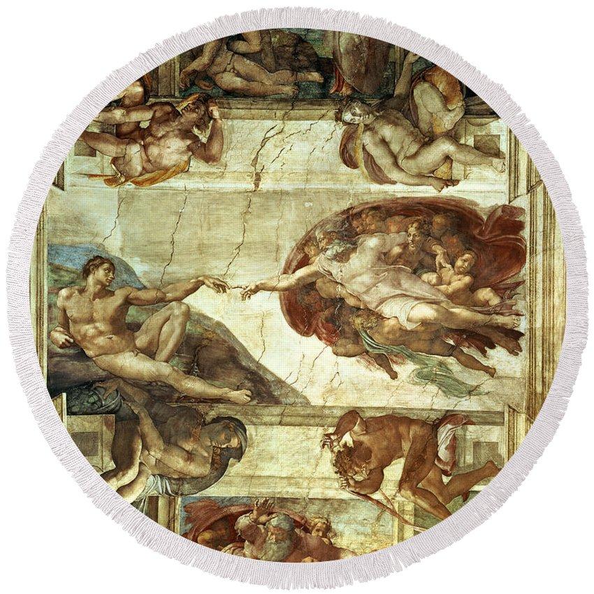 The Creation Of Adam Round Beach Towel featuring the painting The Creation Of Adam by Michelangelo