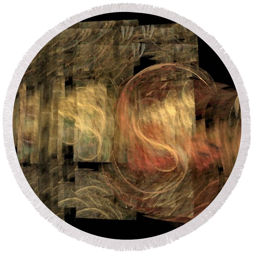 Abstract Round Beach Towel featuring the digital art The Crooked Road by NirvanaBlues