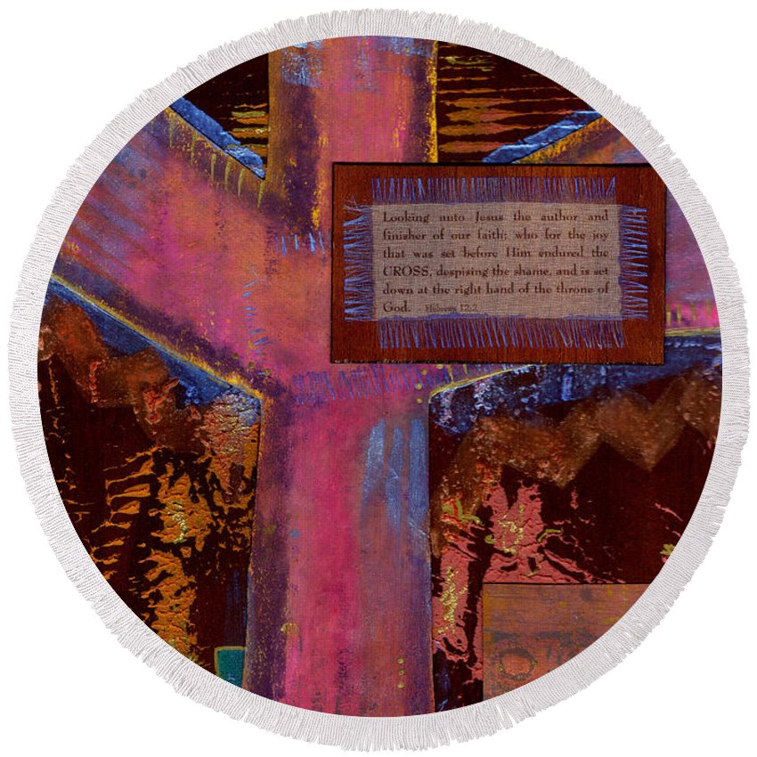 Wood Round Beach Towel featuring the mixed media The Cross by Angela L Walker