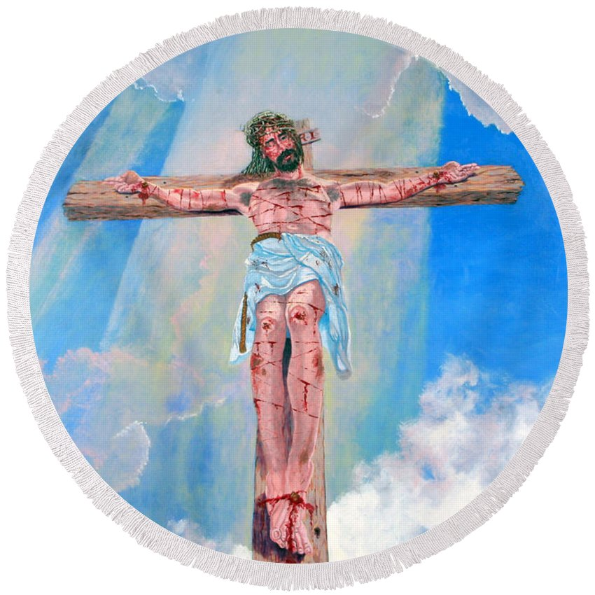 Christian Round Beach Towel featuring the painting The Crucifixion DayTime by Stan Hamilton
