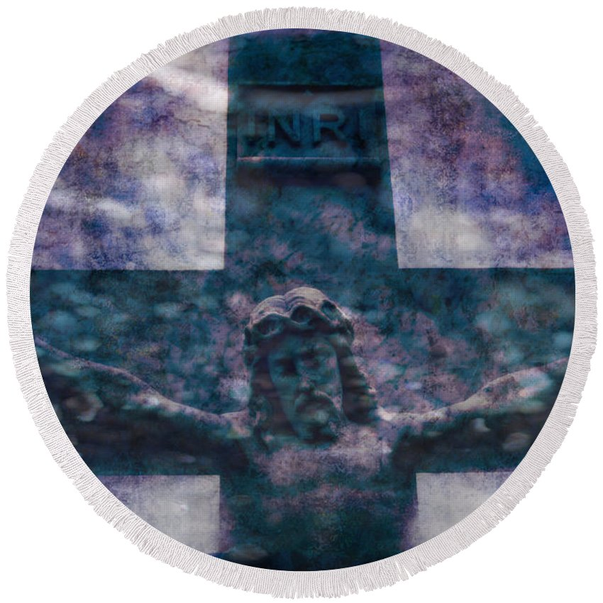 Crucifixion Round Beach Towel featuring the digital art the Crucifixion of Jesus by Ella Kaye Dickey
