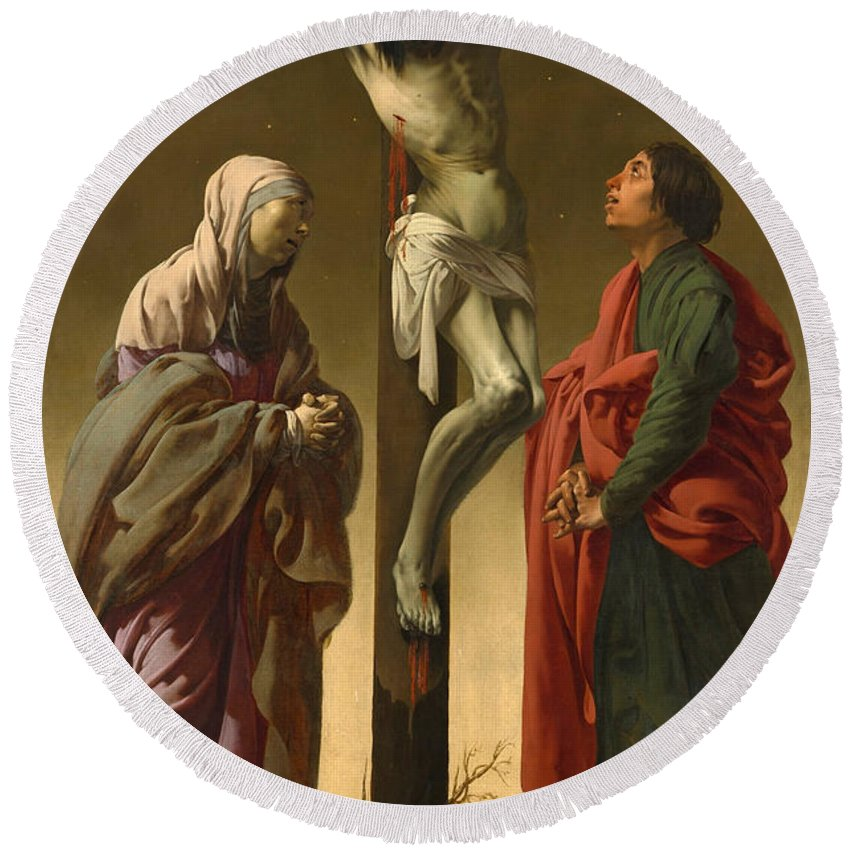 Hendrick Ter Brugghen Round Beach Towel featuring the painting The Crucifixion With The Virgin And Saint John by Hendrick ter Brugghen