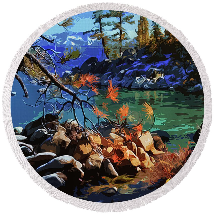 Sierra Nevada Round Beach Towel featuring the painting The Crystal Waters Of Lake Tahoe by Andrea Mazzocchetti
