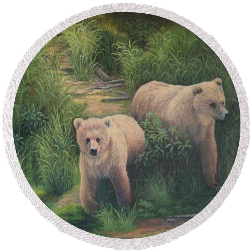 Grizzlies Round Beach Towel featuring the painting The Cubs Of Katmai by Lorna Allan