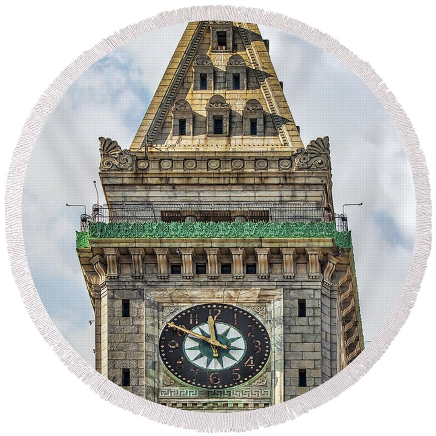Architecture Round Beach Towel featuring the photograph The Customs House Clock Tower Boston by Marcia Colelli