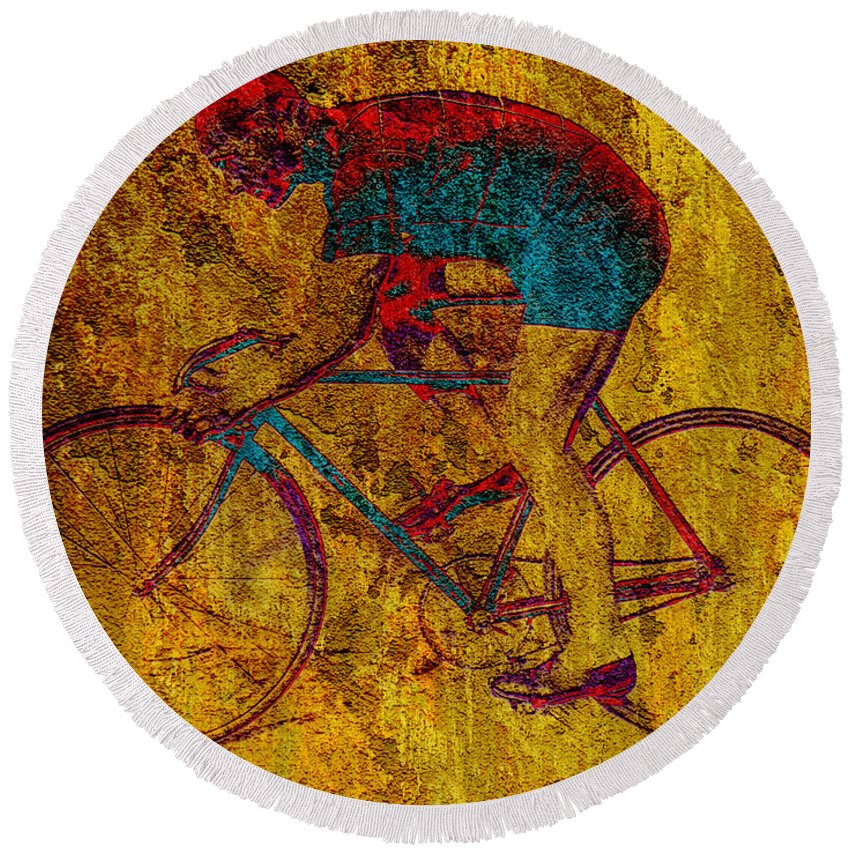 Bicycle Round Beach Towel featuring the photograph The Cyclist by Andrew Fare