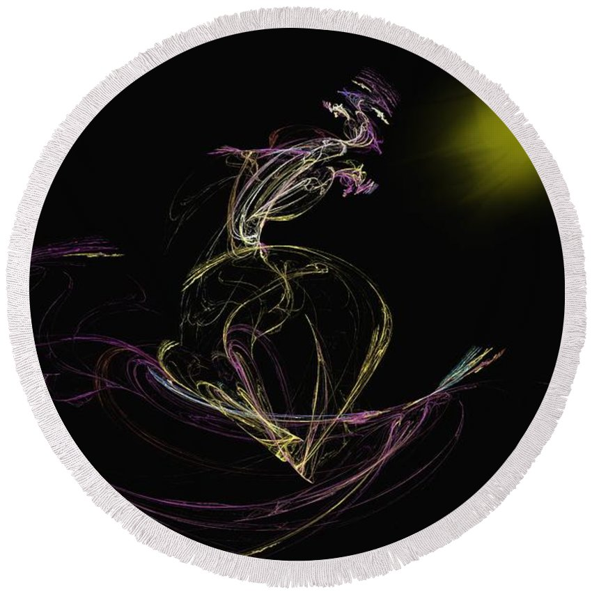 Abstract Digital Photo Round Beach Towel featuring the digital art The Dance by David Lane