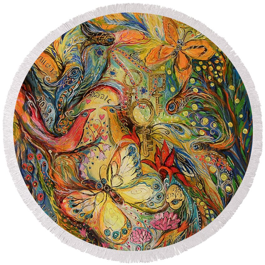 Original Round Beach Towel featuring the painting The Dance Of Nature by Elena Kotliarker