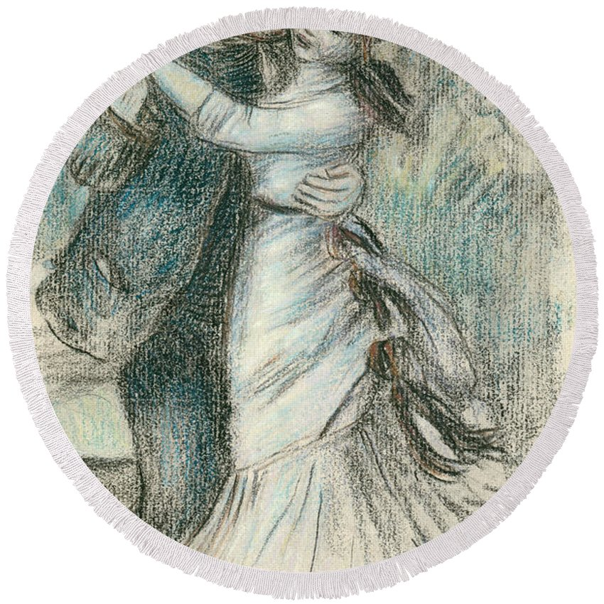 The Round Beach Towel featuring the drawing The Dance by Pierre Auguste Renoir