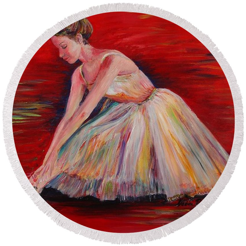 Dancer Round Beach Towel featuring the painting The Dancer by Nadine Rippelmeyer