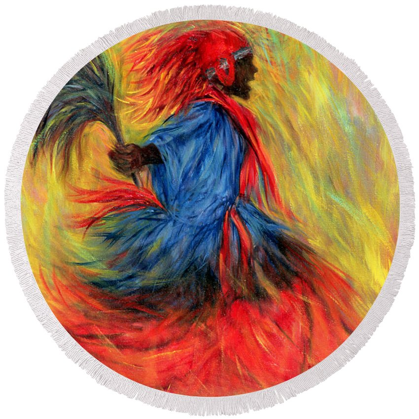 Dancer Round Beach Towel featuring the painting The Dancer by Tilly Willis
