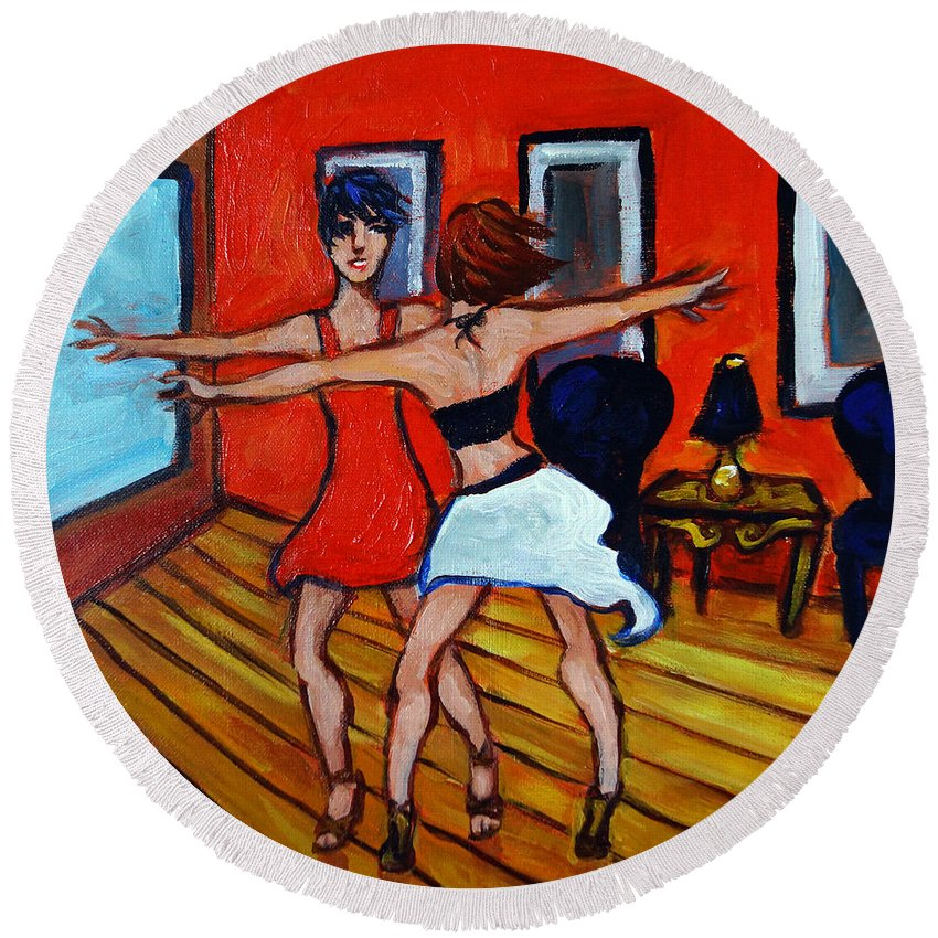 Dancers Round Beach Towel featuring the painting The Dancers by Valerie Vescovi