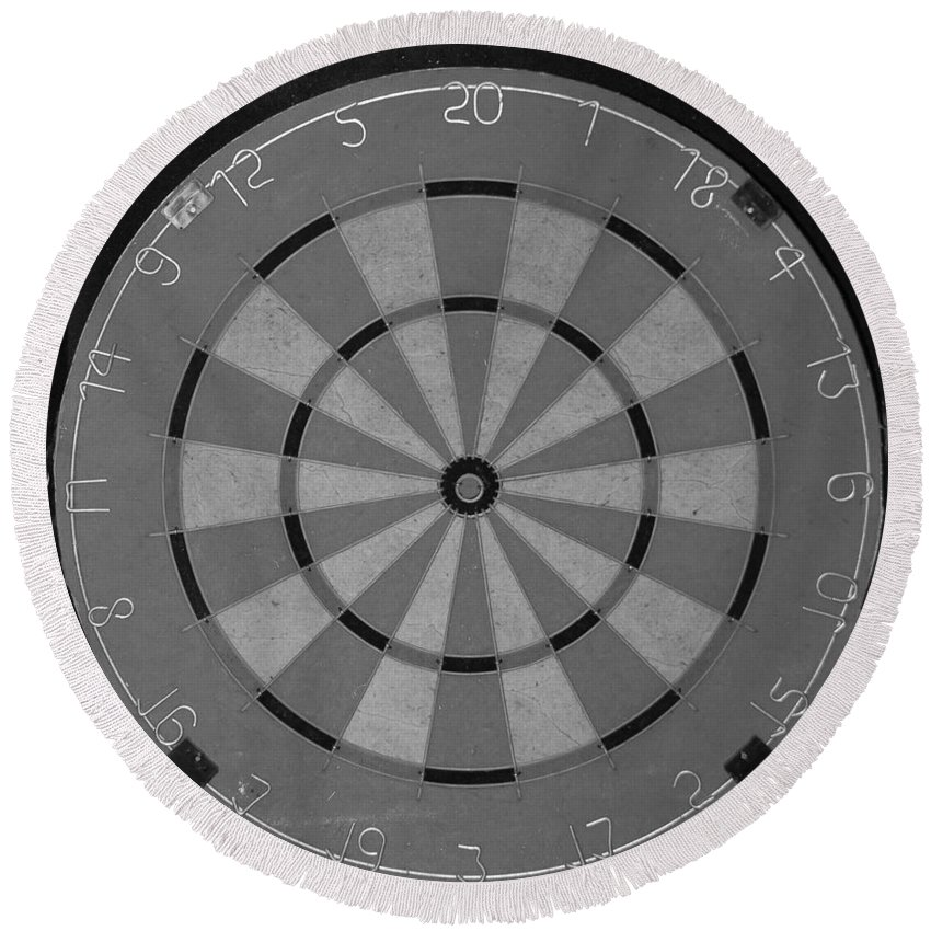 Macro Round Beach Towel featuring the photograph The Dart Board In Black And White by Rob Hans